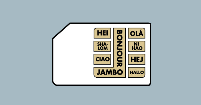 "A sim card with numerous ways of saying ""Hello"" in different languages on it"