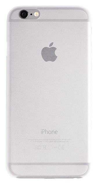 Back view of a very thin iPhone case in white, made by Totallee
