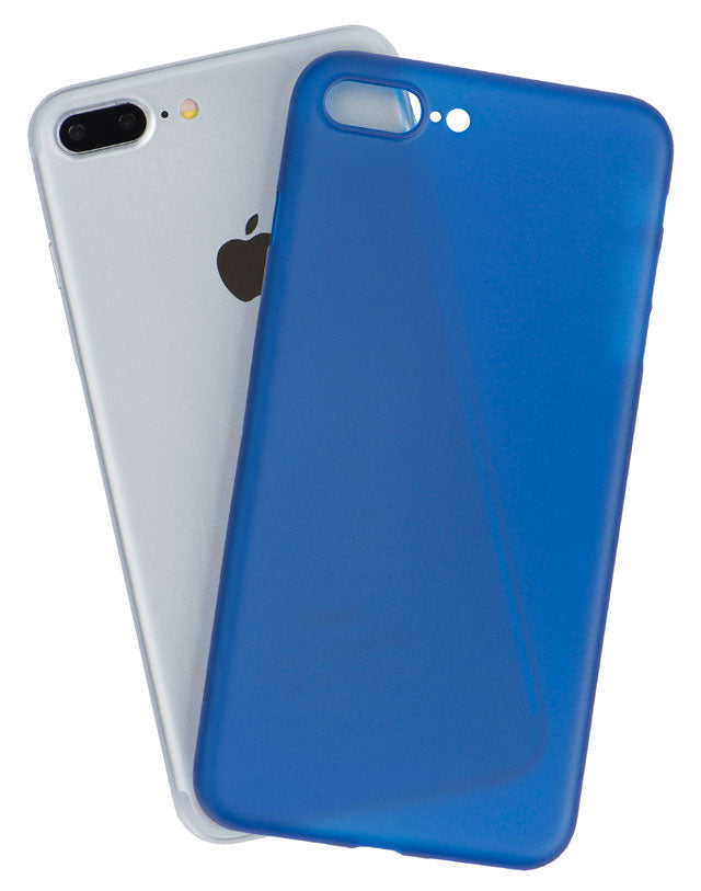 Back view of a very thin iPhone case in navy blue, made by Totallee