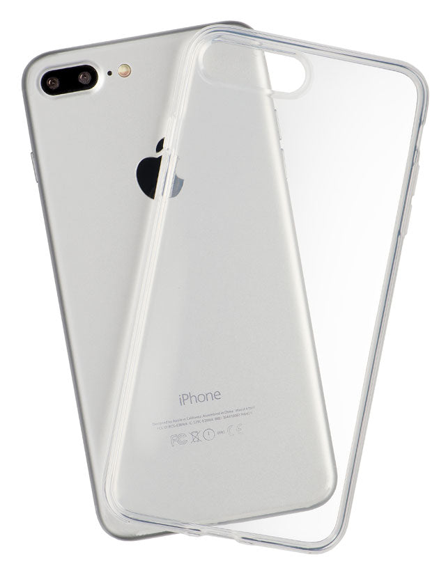 Back view of a thin and completely transparent iPhone case, made by Totallee