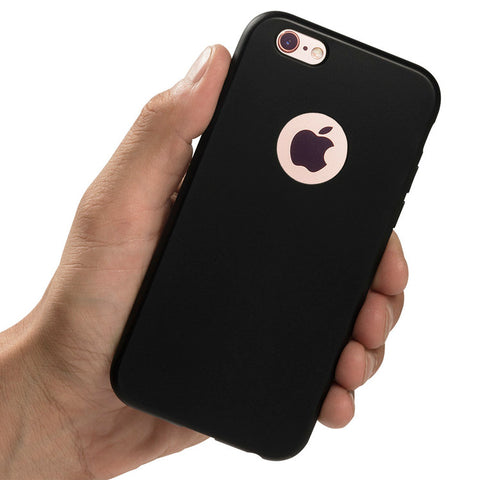 A hand holding totallee's black rubber TPU iPhone case