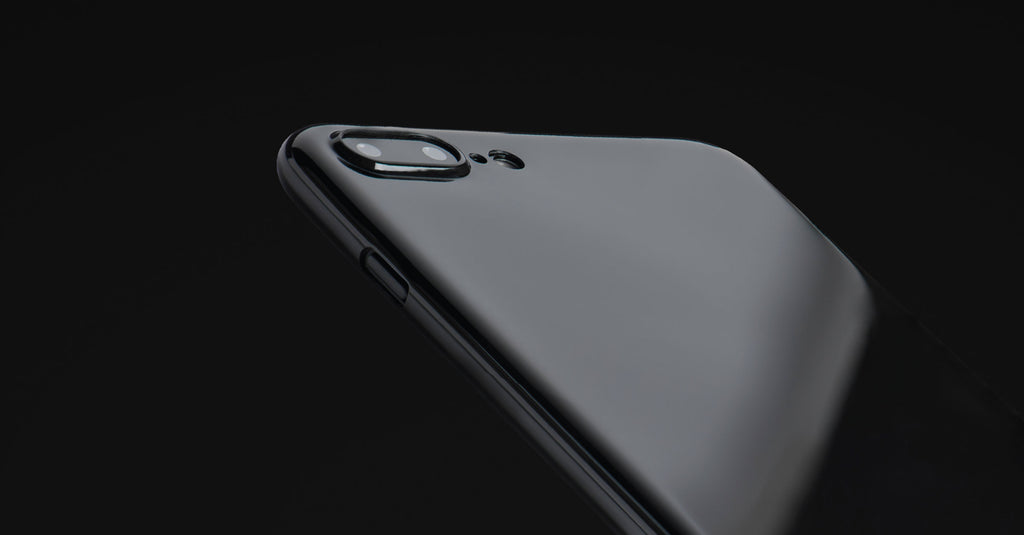 A close up of a Jet Black iPhone 7 Plus case, showing its camera protection