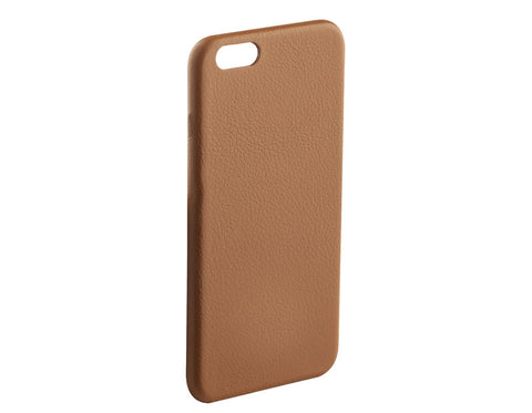 A tan, leather, case for the iPhone 6