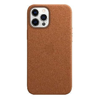A tan, leather, case for the iPhone