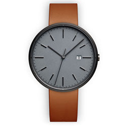 Minimalist men's watch with grey face and leather band
