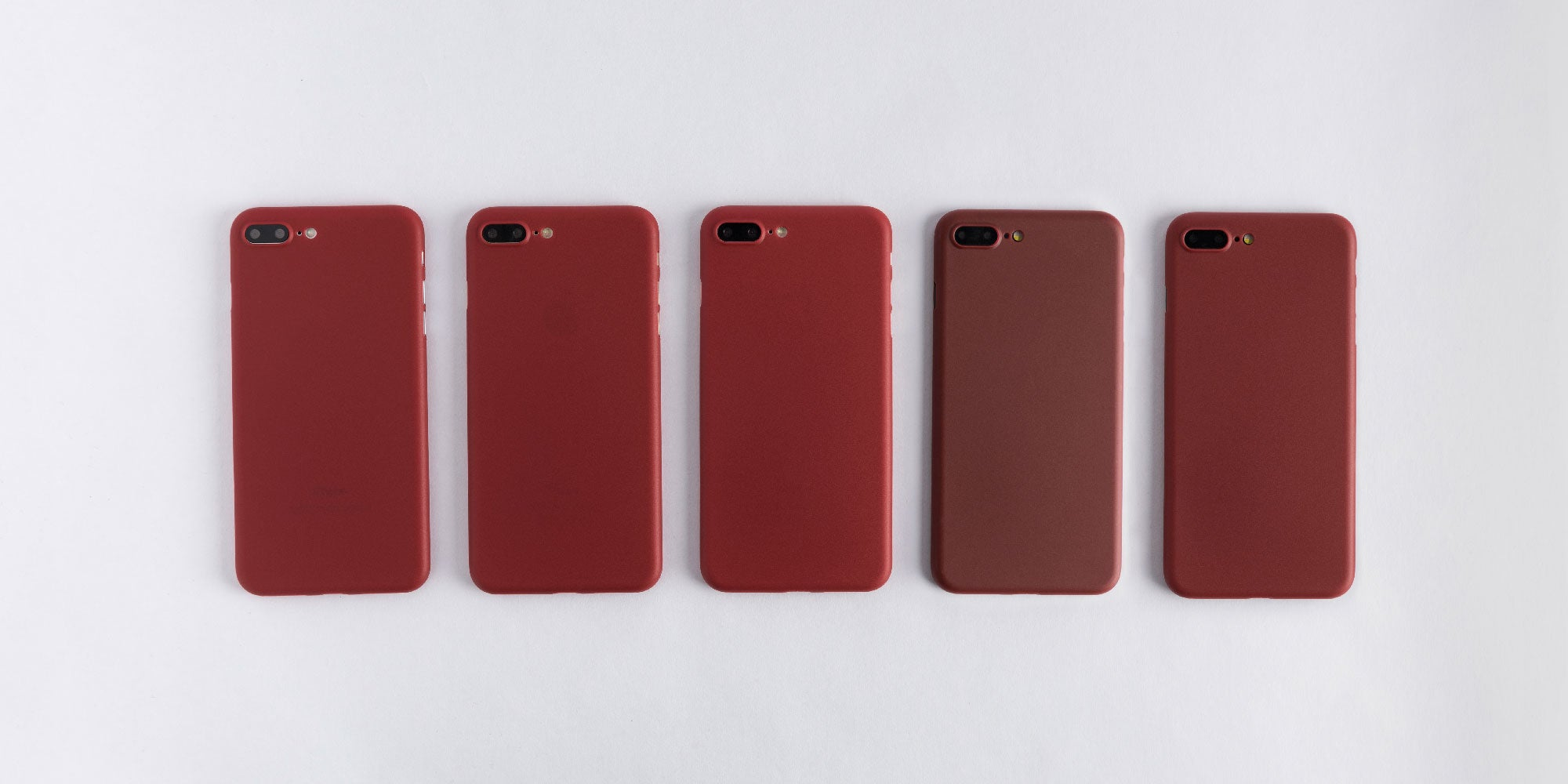 totallee burgundy red case on Rose Gold, Silver, Gold, Black, and Jet Black iPhone 7