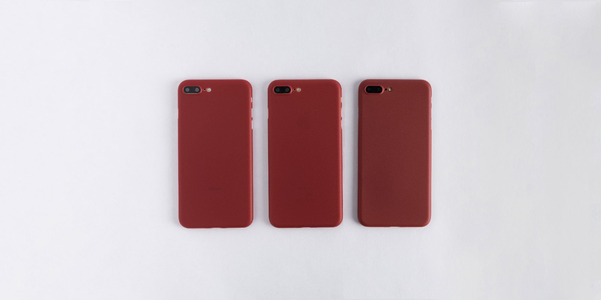 totallee burgundy red case on Space Grey, Silver, and Gold iPhone 8