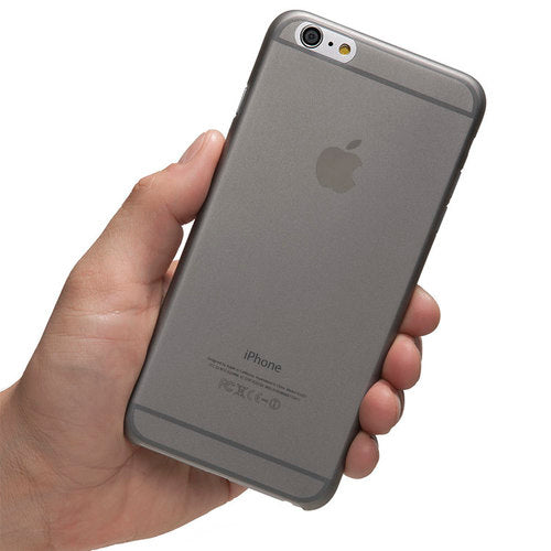 A hand holding totallee's grey, thin iPhone case, the scarf.