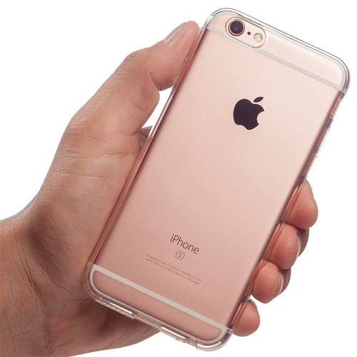 A hand holding totallee's spy iPhone case on a rose gold iPhone