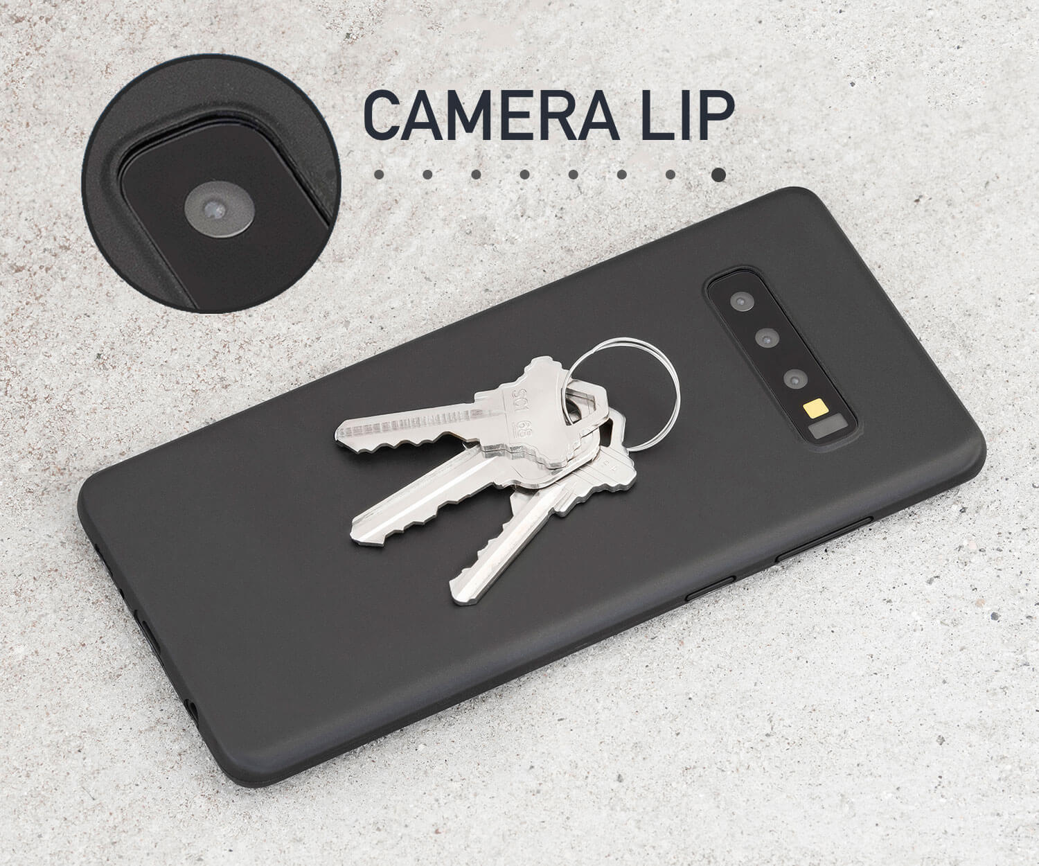 Thin black Galaxy S10 case that adds camera and scratch protection