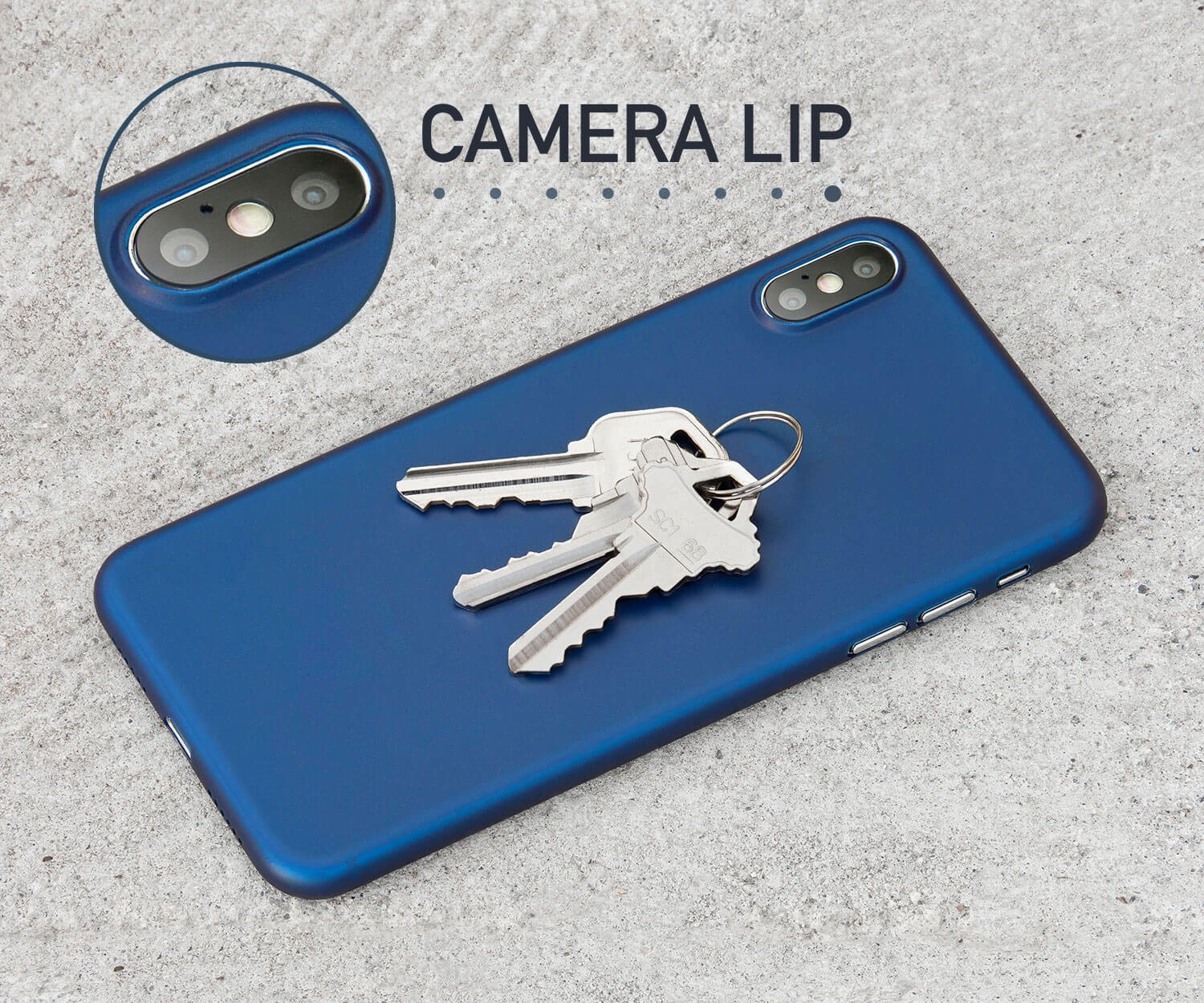 A thin iPhone X case with a lip for camera protection