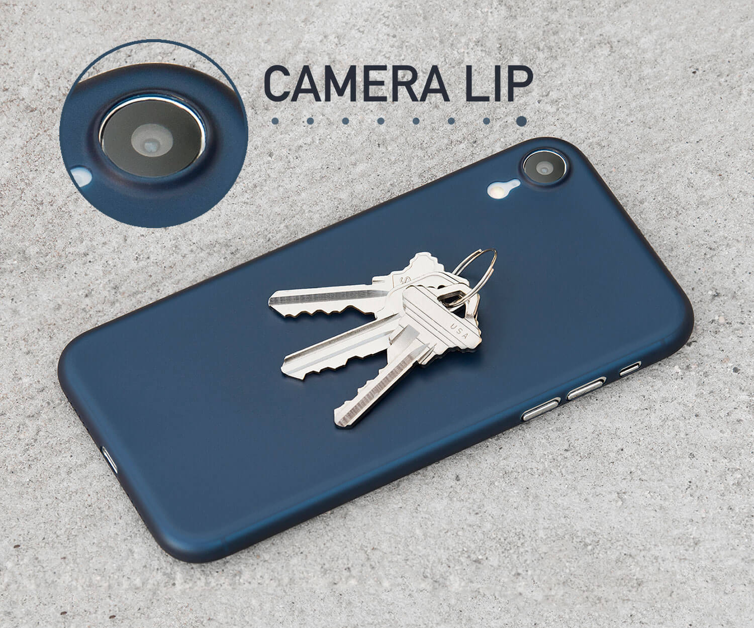 A thin iPhone XR case with a lip for camera protection