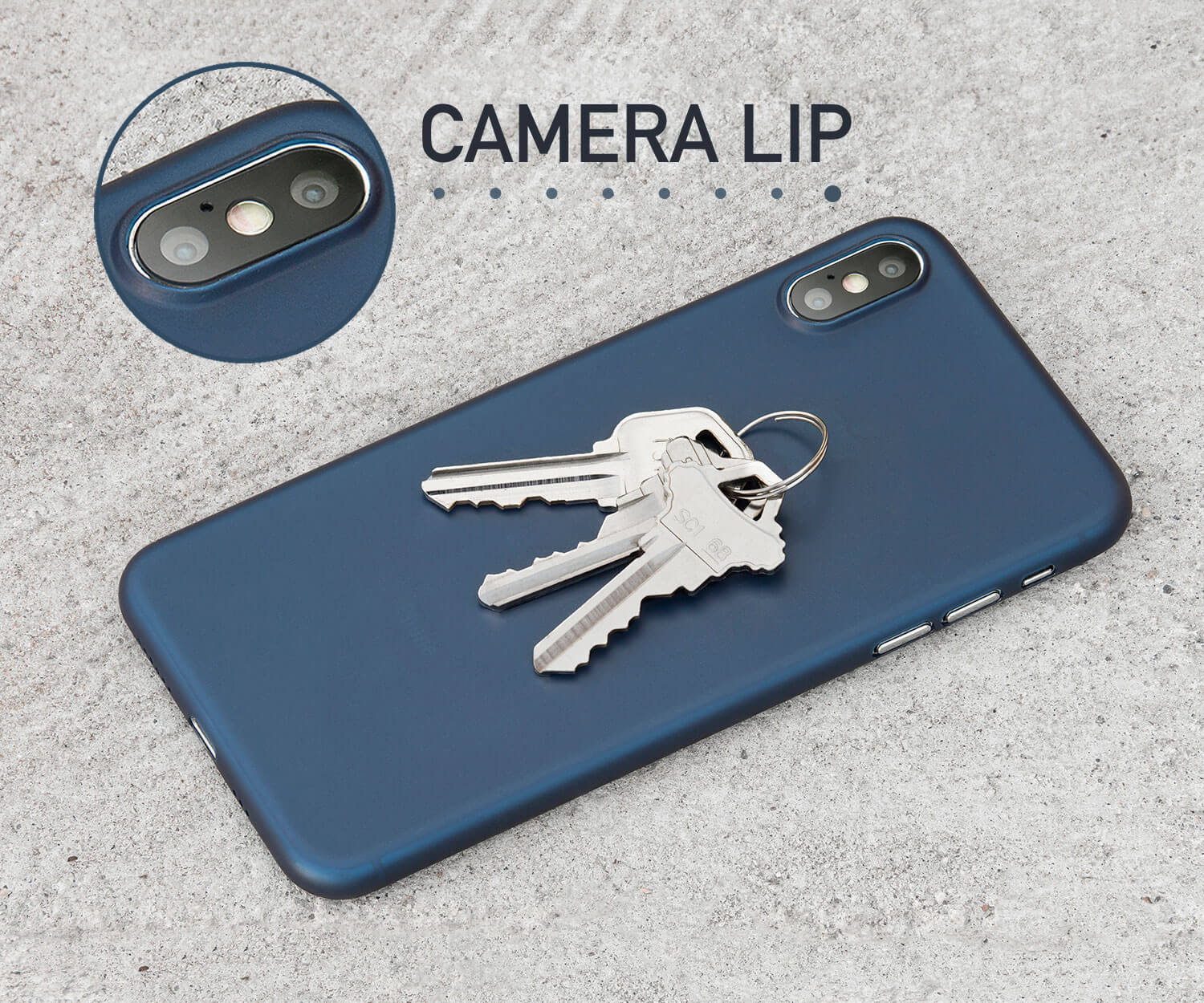 A thin iPhone XS case with a lip for camera protection