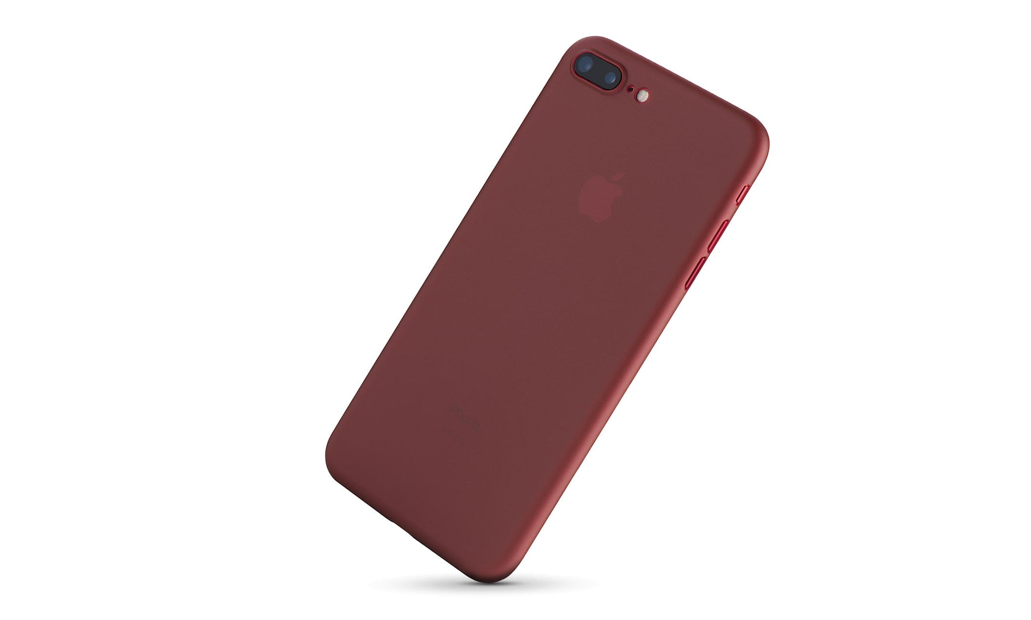 A thin red iPhone case on the red iPhone 7 plus