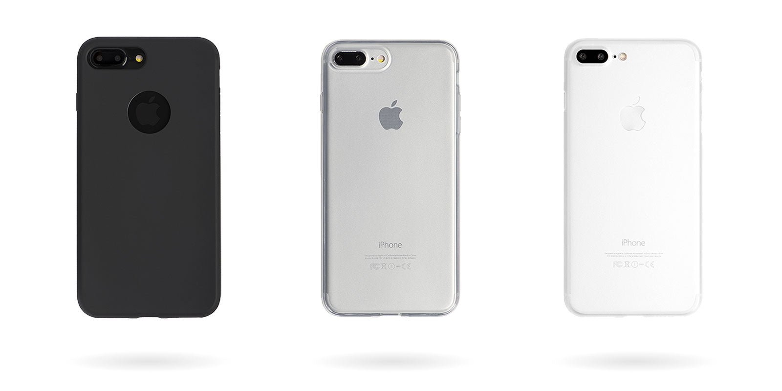 totallee's iphone case collection, including the slim matte black doberman, the thin transparent spy, and the ultra thin white scarf