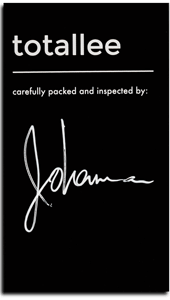 Black warranty card signed by totallee staff member Johanna