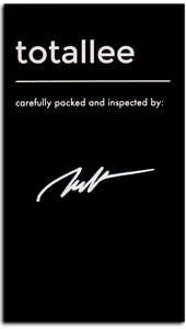 Black warranty card signed by totallee staff member Matthias
