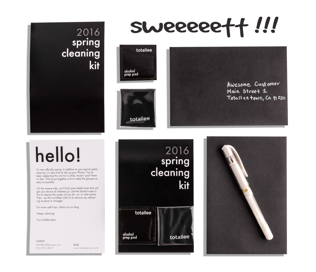 totallee's spring cleaning kit, including a card, alcohol wipe, micofiber cloth, along with 2 black envelopes