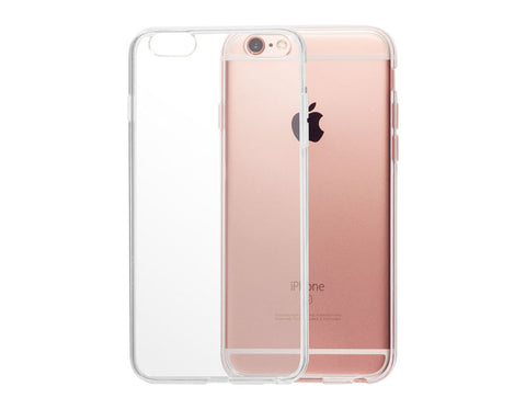 totallee's transparent iPhone case overlapping a rose gold iPhone 6