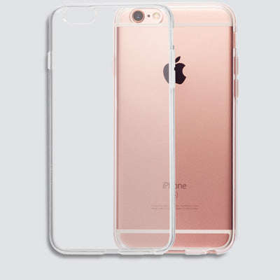 Back view of totallee's transparent iphone case overlapping a rose gold iphone 6s.