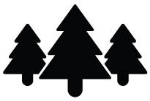 A black and white icon of trees