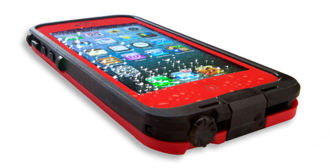 A red, waterproof, iPhone 6 case