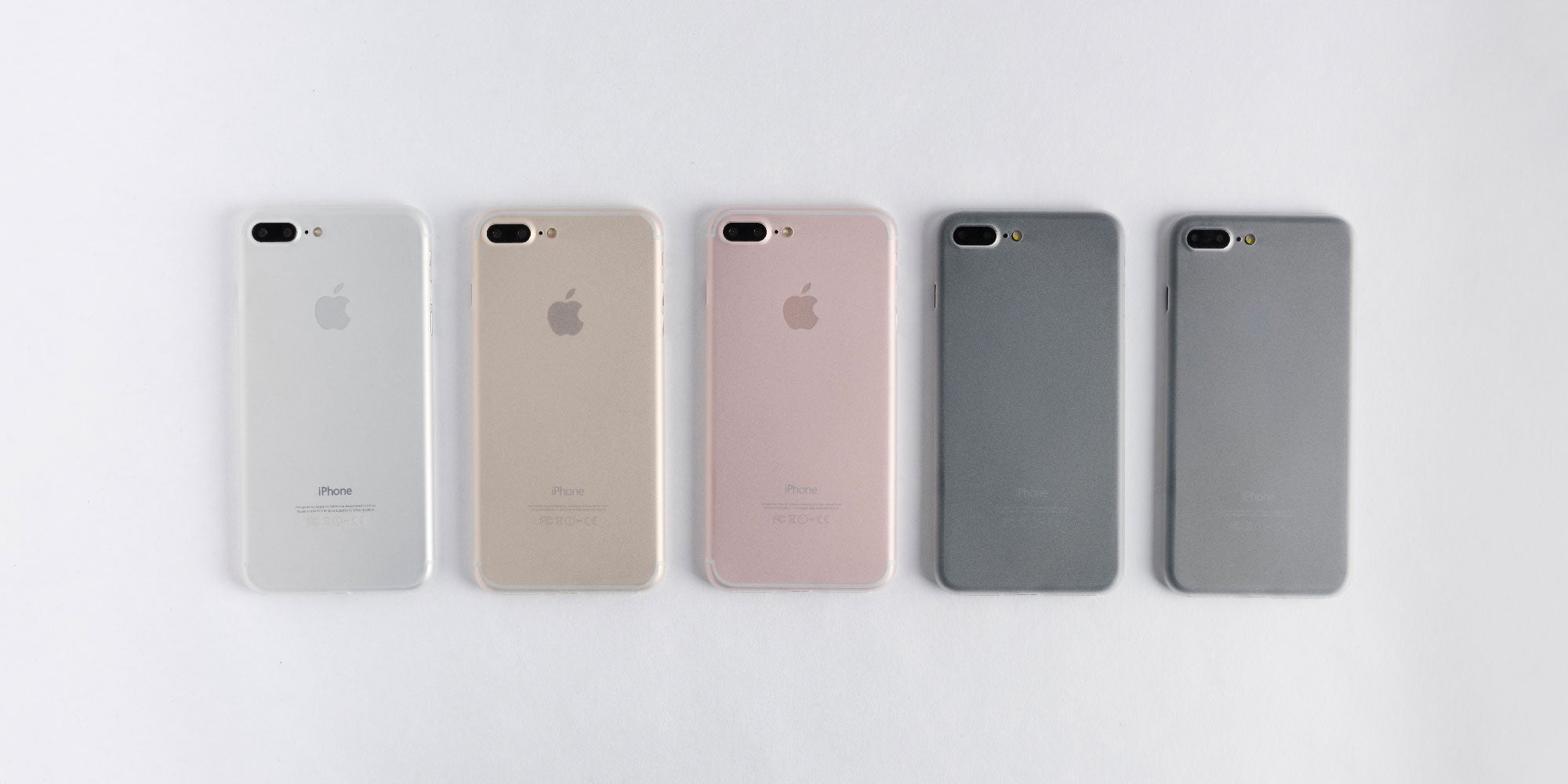 totallee jet white case on Rose Gold, Silver, Gold, Back, and Jet Black iPhone 7