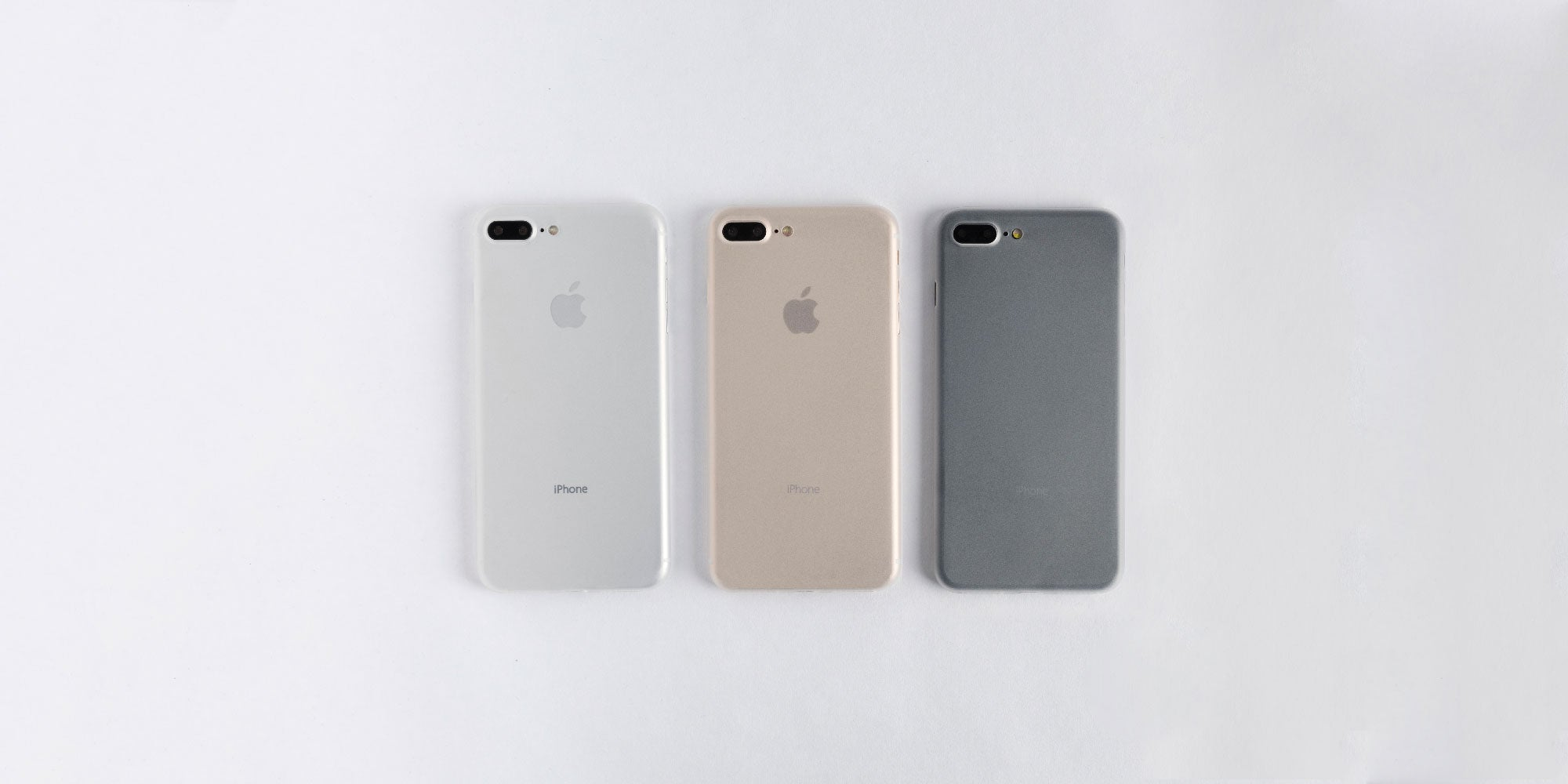 totallee frosted white case on Space Grey, Silver, and Gold iPhone 8
