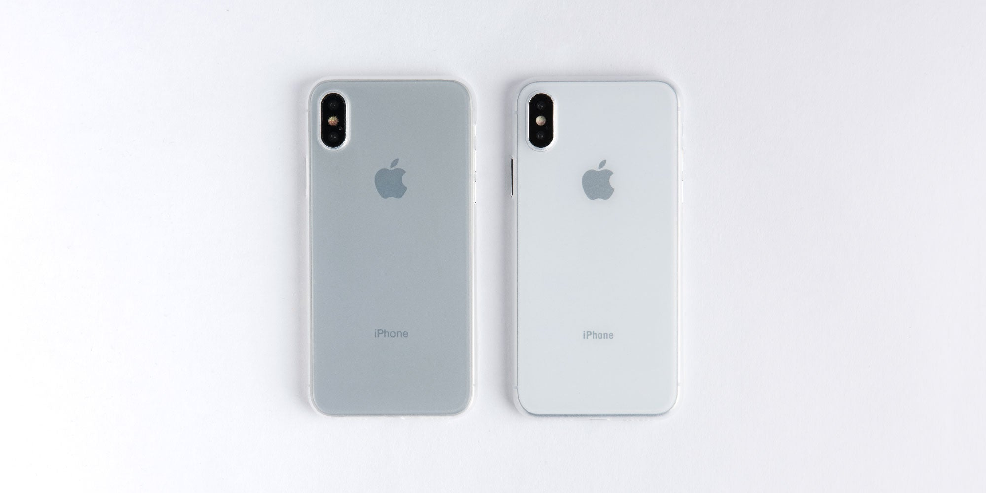 totallee frosted white case on space grey and silver iPhone X