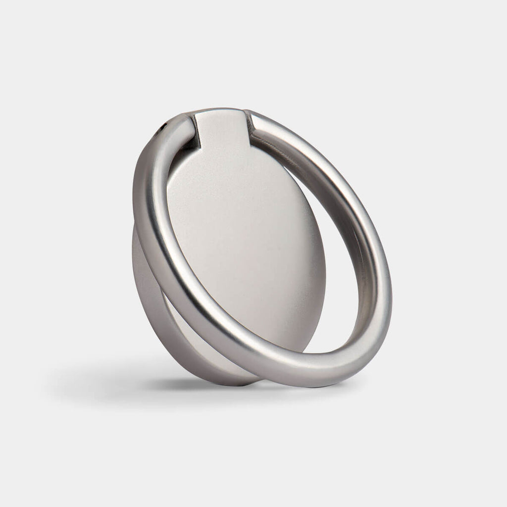 A round stainless steel metal phone ring stand in silver, Silver