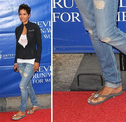 Halle Berry wears Girl Two Doors Down flip flops on the red carpet