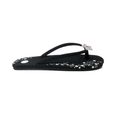 Black Flat Flip Flops Side View Pave Flower