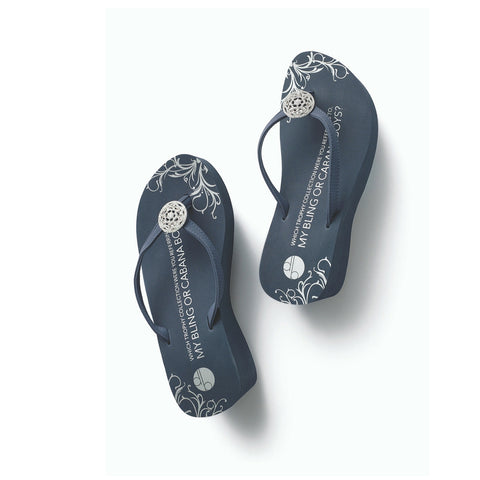 Top View Blue Platform Flip Flops Trophy Medallion