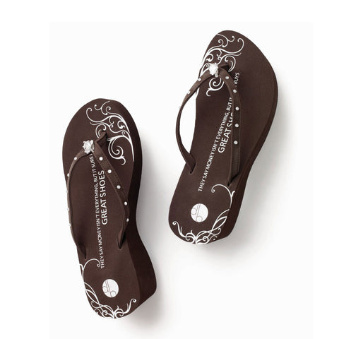 brown designer platform flip flops teardrop diamond ring