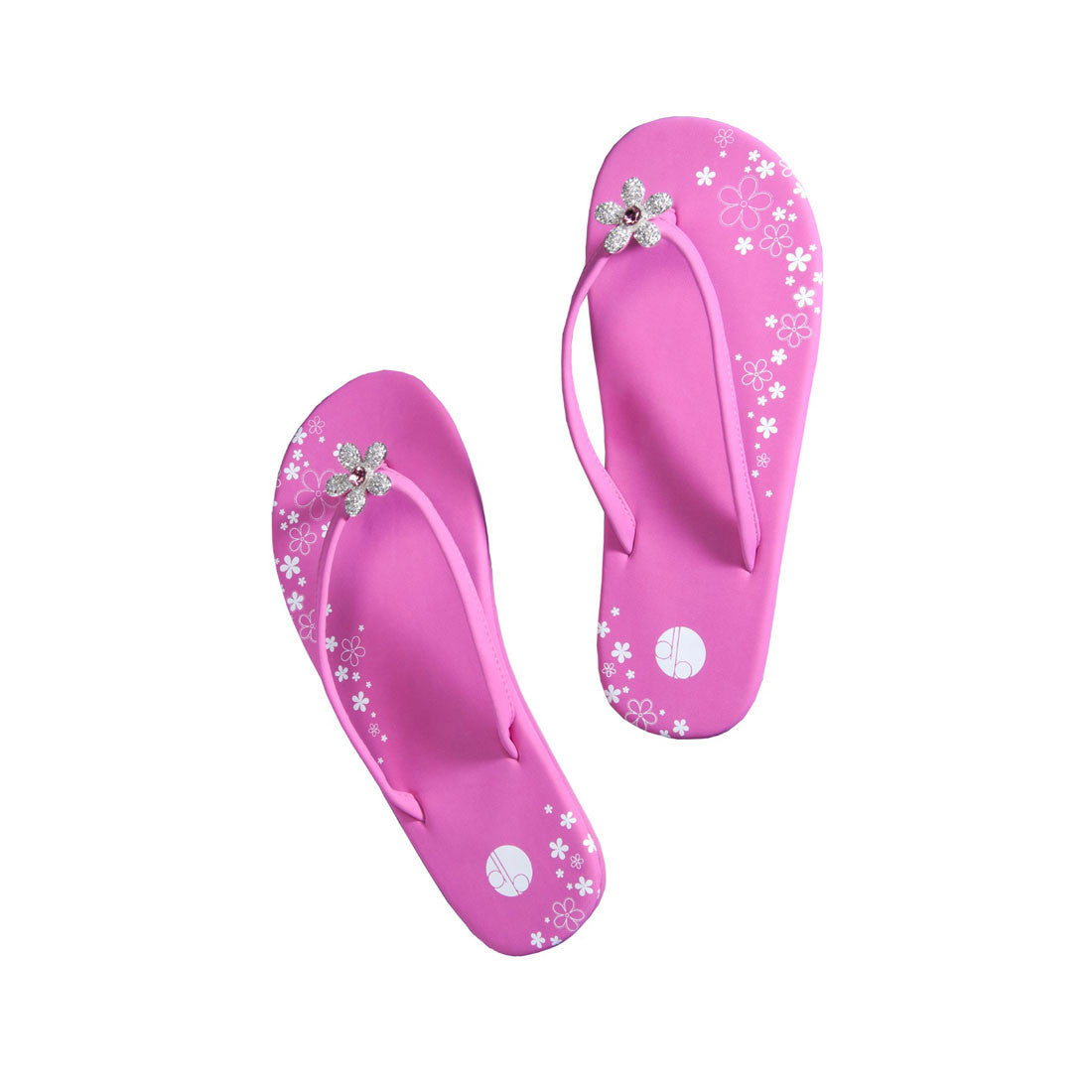 Pink Pave Flower Flat Flip Flops Girl Two Doors Down