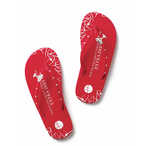 Top View Red Flat Martini Flip Flops