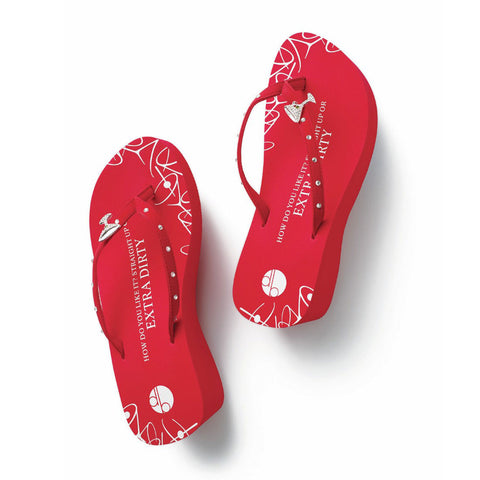 Top View Red Platform Martini Flip Flops