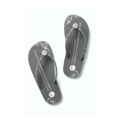 Top View Gray Flat Flip Flops Vintage Diamond Ring