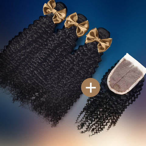 Kinky Curly Silk Closure & Bundle