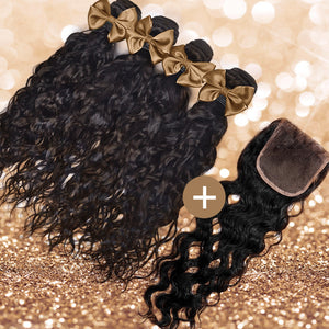 Natural Wave Lace Closure & Bundle