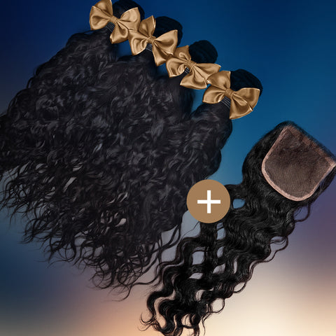 Natural Wave Silk Closure & Bundle