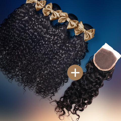 Water Wave Silk Closure & Bundle