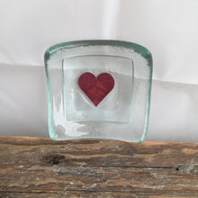 Glass Clear with Red Heart Earring Dish