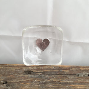 Glass Clear with Gold Heart Earring Dish