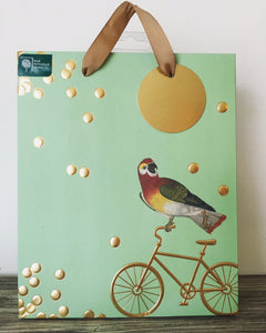 Bird on Golden Bike Gift Bag