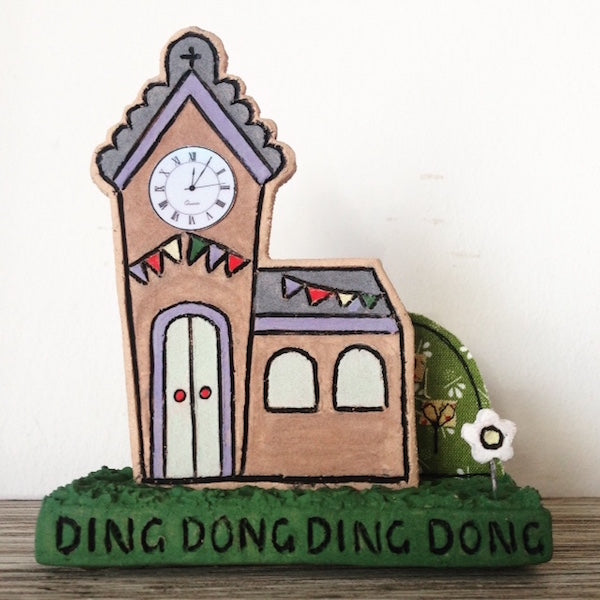 Ding Dong Ceramic Church Ornament by Flossy Teacake