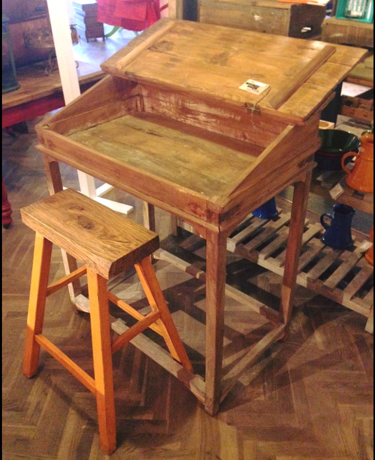 Large Wooden Desk with Large Yellow Stool