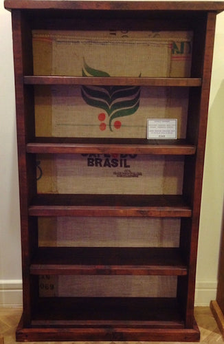 Large Hessian Backed Shelving Unit
