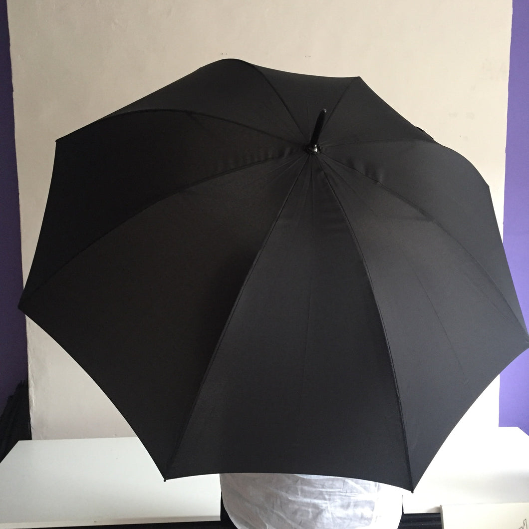 Black Umbrella with Brown Handle