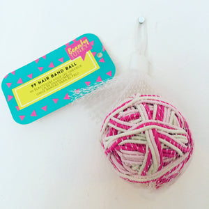 99 Hair Band Ball - Pink and White